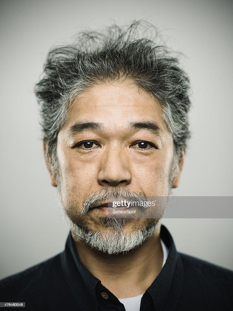 Porträt eines echten japanischen Mann mit grauen Haaren. : Stock-Foto
