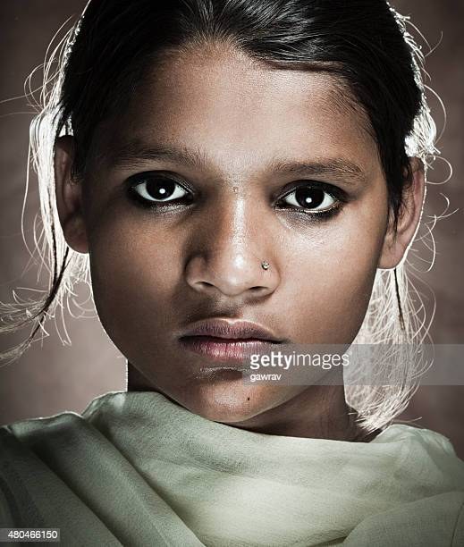 Portrait of a real rural girl of Indian ethnicity.