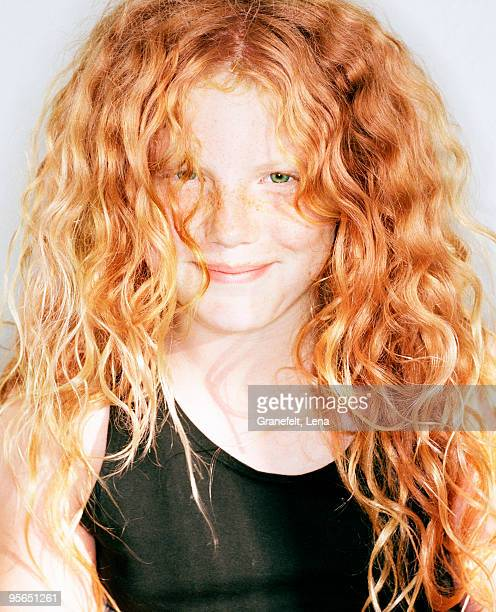 Portrait of a red-haired girl, Sweden.