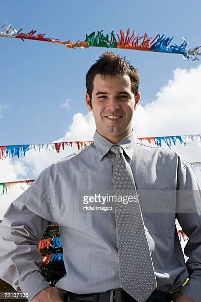 Portrait of a salesman outdoors
