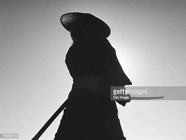 Portrait of a Samurai warrior holding a sword