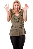 Scared Screaming Young Woman With Hands Up