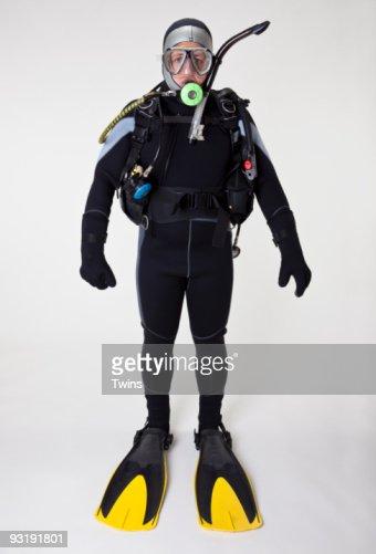 Portrait of a scuba diver, studio shot