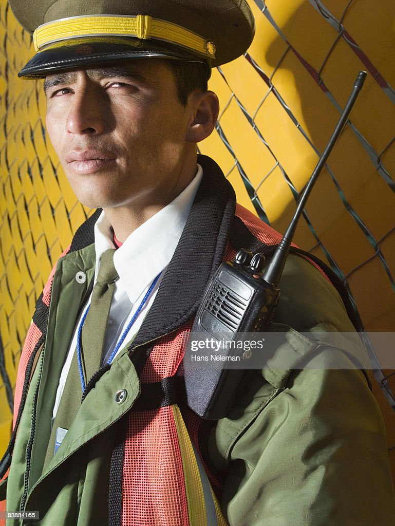 Portrait of a security worker : Stock Photo