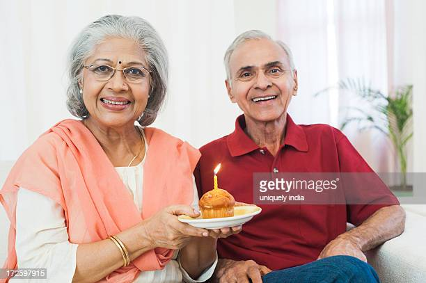 Portrait of a senior couple celebrating their anniversary