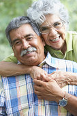 Portrait of a senior couple hugging