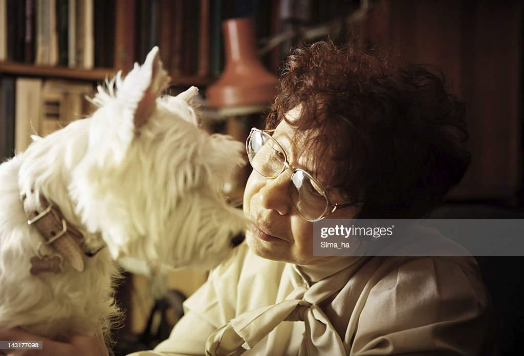 Portrait of a senior lady with her dog : Stock Photo