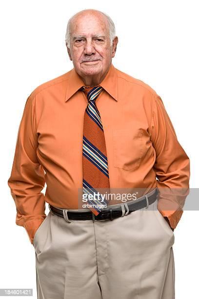 Portrait of a senior man dressed in orange, black and gray