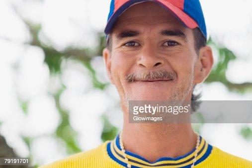 Portrait of a senior man making a face : Foto de stock