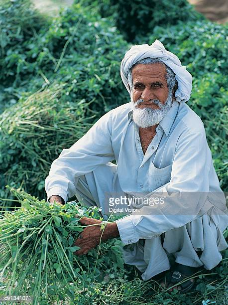 Portrait of a Senior Man Wearing Traditional Middle Eastern Clothing Kneeling in the Souk Holding Herbs, Dubai