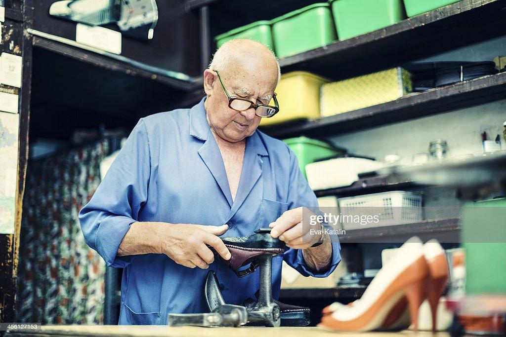 Portrait of a senior shoemaker