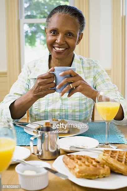Portrait of a senior woman having breakfast