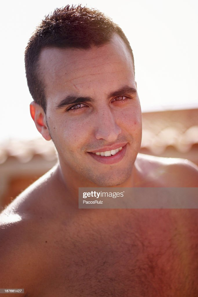 Portrait of a shirtless man : Stock Photo
