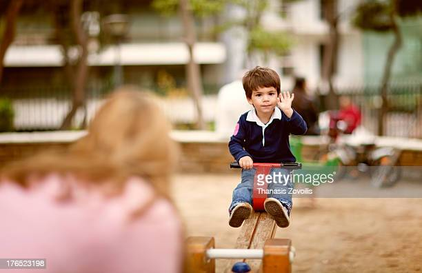 Portrait of a small boy playing in a playgroup