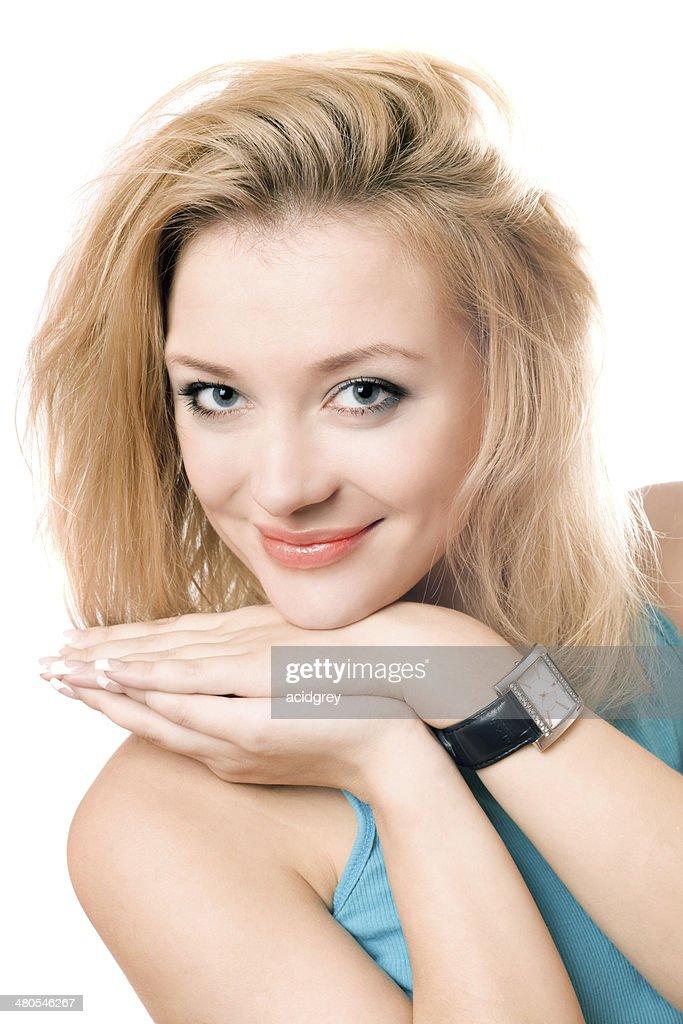 Retrato de um sorridente atraente Loira : Foto de stock