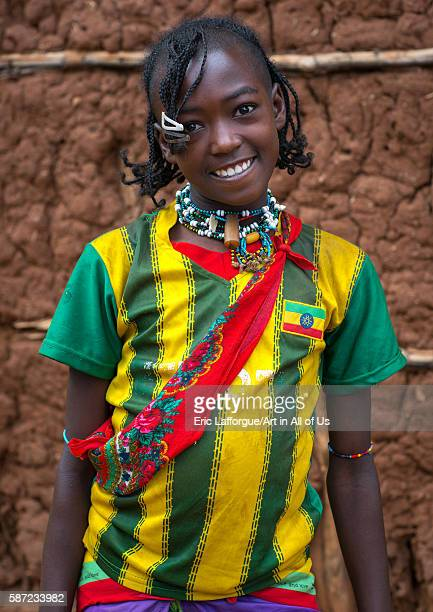 Portrait of a smiling bana tribe teenage girl omo valley key afer Ethiopia on March 17 2016 in Key Afer Ethiopia