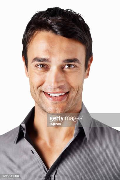 Portrait of a smiling guy against white background