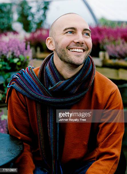 Portrait of a smiling man with a scarf Sweden.