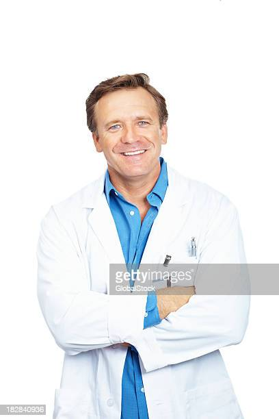 Portrait of a smiling mature doctor standing against white background