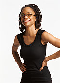 Portrait of a Smiling Woman With Dreadlocks, Wearing Spectacles