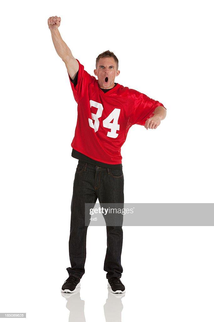 Portrait of a sports fan cheering
