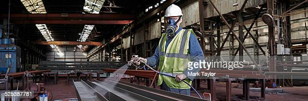 Portrait of a steelworker in his working environment