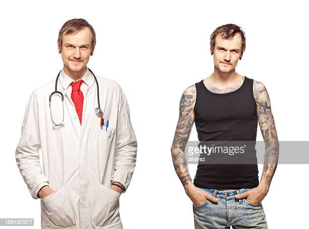 Portrait of a tattooed doctor