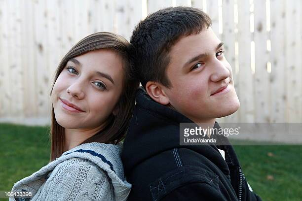 Portrait of a Teen Boy and Girl