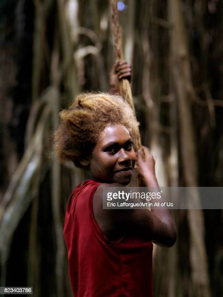 Portrait of a teenage girl with blonde hair Efate Island Port Vila Vanuatu on August 25 2007 in Port Vila Vanuatu