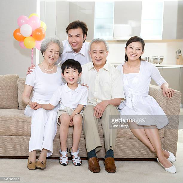 Portrait of a three generation family at home