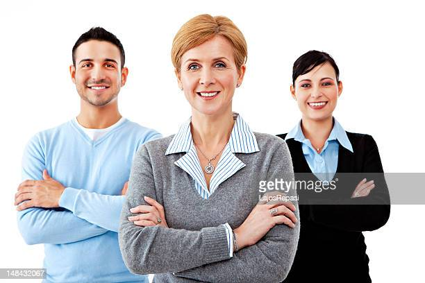 Portrait of a three person business team with arms crossed