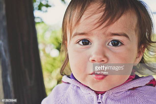 Portrait of a toddler girl wearing a purple sweater.