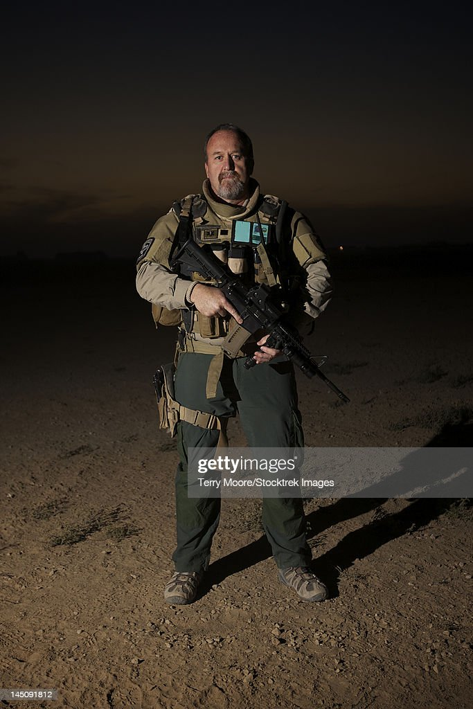 Portrait of a U.S. Contractor on a police mission in Afghanistan.