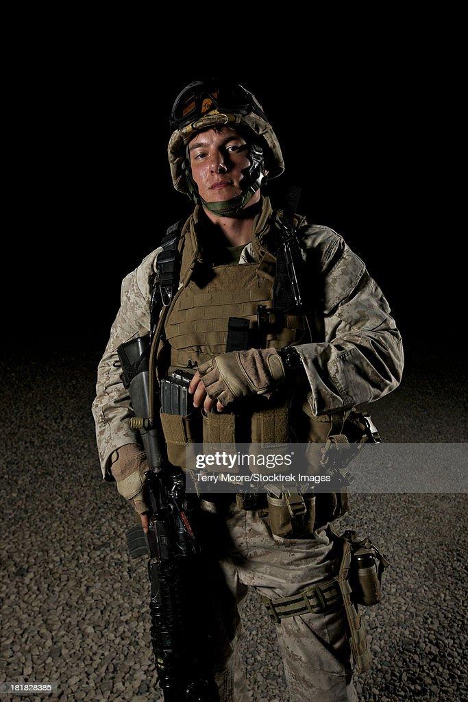 Portrait of a U.S. Marine in Afghanistan.