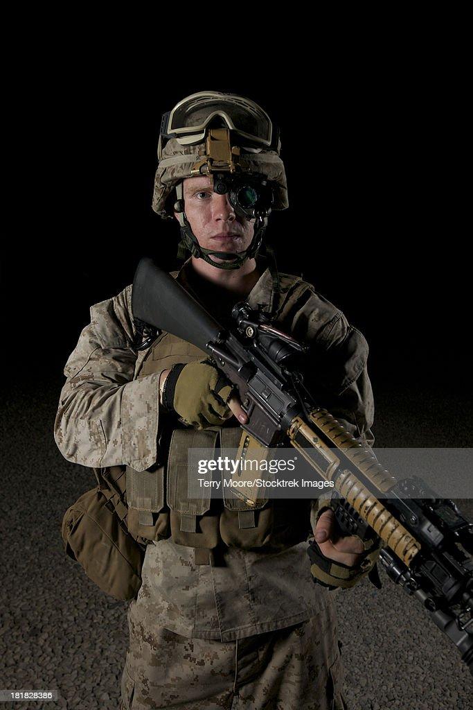 Portrait of a U.S. Marine wearing night vision device.