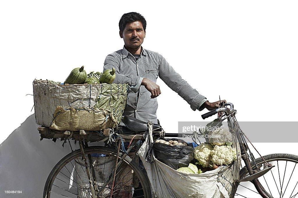 portrait of a vegetable vendor in Kathmandu Nepal : Stock Photo