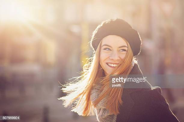 Portrait of a woman at sunlight