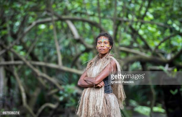Portrait of a woman at the footsteps of Yasur volcano, Tanna Island