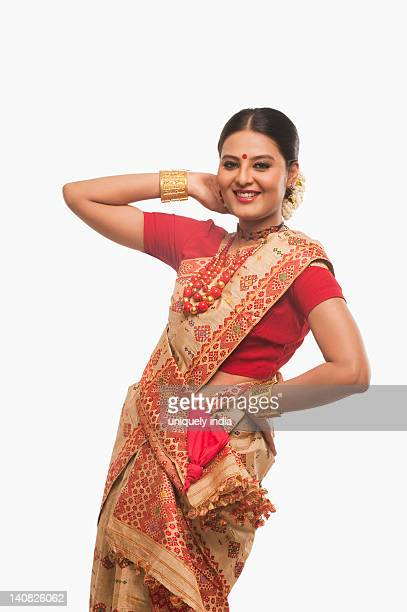 Portrait of a woman dancing on Bihu festival