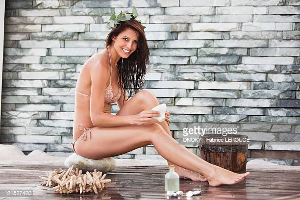 Portrait of a woman in bikini at a spa
