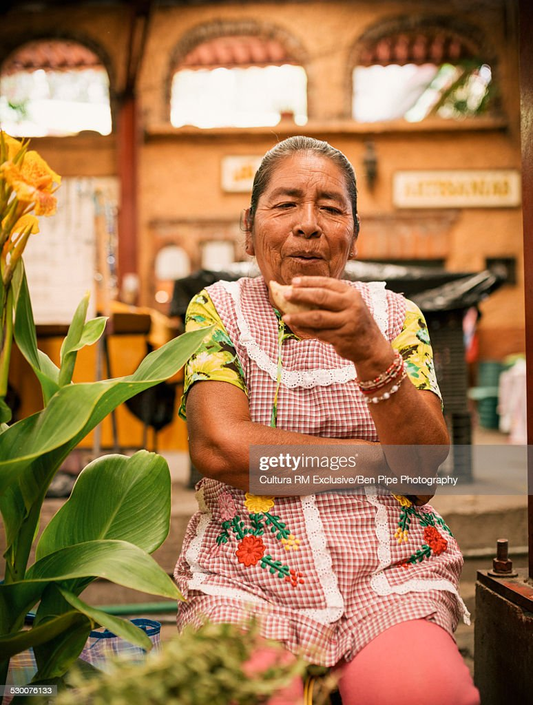 Portrait of a woman in market, San Miguel de Allende, Guanajuato, Mexico