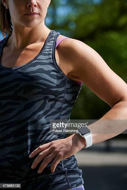 Portrait of a woman in sportswear modelling an Apple Watch Sport taken on May 21 2015