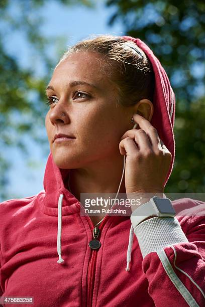 Portrait of a woman in sportswear modelling an Apple Watch Sport taken on May 21 2015
