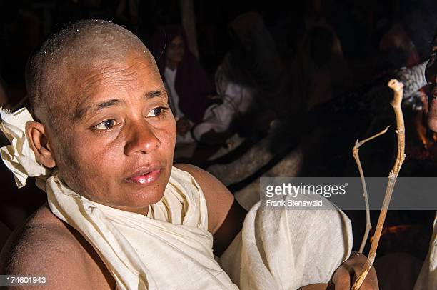 Portrait of a woman joining the initiation of new Jain nuns at the Sangam the confluence of the rivers Ganges Yamuna and Saraswati at Kumbha Mela at...