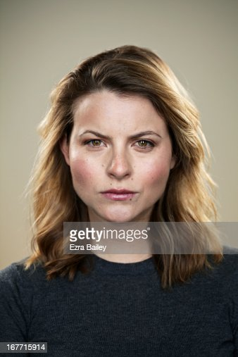 Portrait of a woman looking angry.
