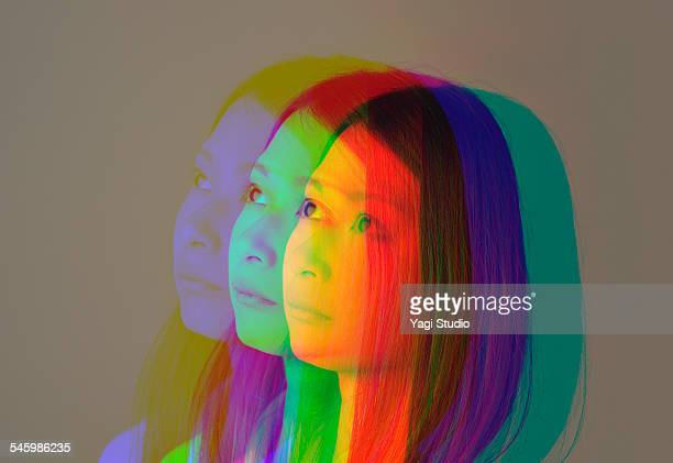 Portrait of a woman made of multiple exposure