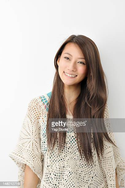Portrait of a woman on white background,smiling