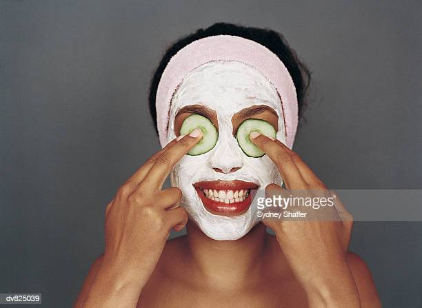 Portrait of a Woman With a Beauty Mask