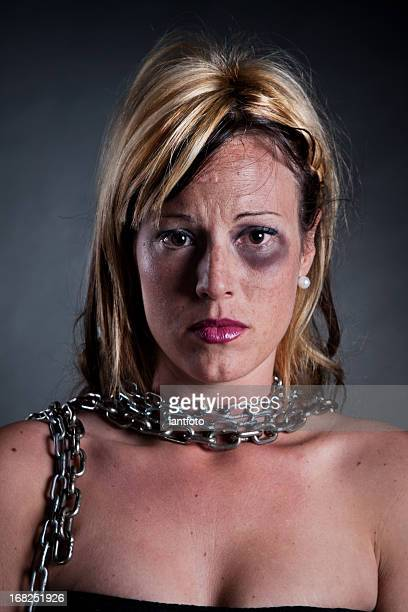 Portrait of a woman with chains.
