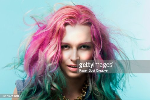 Portrait of a woman with colorful hair dye